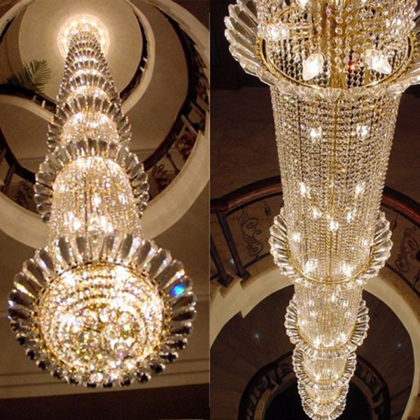 Staircase Long font b Chandelier b font Hotel Business Lobby Crystal font b Chandelier b font