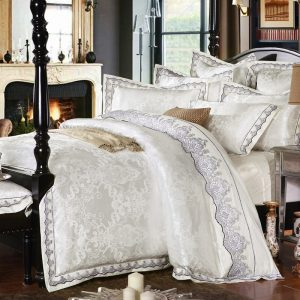 SunnyRain   Pieces White Jacquard Silk Cotton Luxury Bedding Set King Size Queen Bed Set