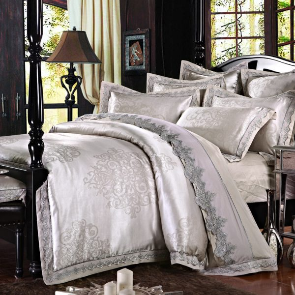 SunnyRain  Pieces Jacquard Silk Cotton Lace Luxury Bedding Sets King Size Queen Bed Set font
