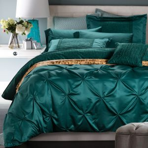 SunnyRain  Pieces Cotton Imitated Silk Luxury Bedding Set Pinch Pleat Bed Set King Queen Bed