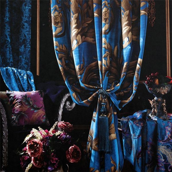 The European Flower Velvet Bronzing Special Blue Red Purple Beige font b Curtains b font Warm