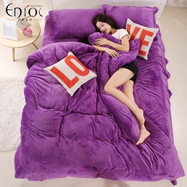 Thick Winter Warm Flannel pcs Solid Printed Bedding Set Suit Bed Sheet font b Duvet b