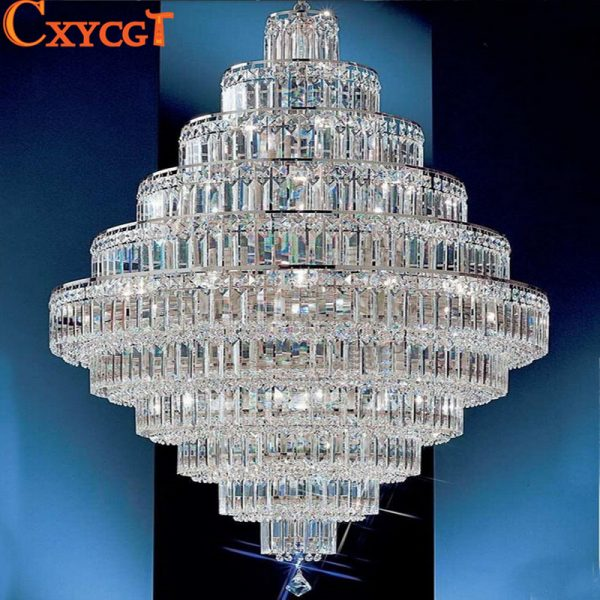 top luxury big europe large gold luster k crystal chandelier light fixture