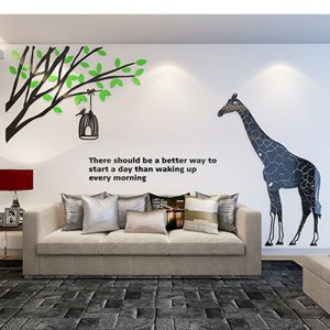 Tree and Giraffe Pattern DIY Acrylic font b Stickers b font Novelty D font b Wall