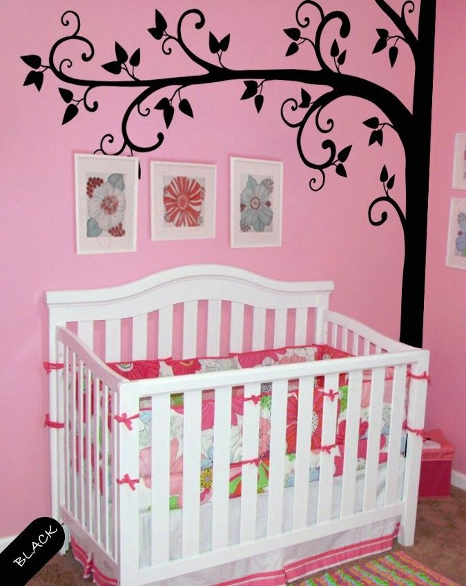 Tree wall decal nature removable vinyl wall stickers baby for Diy tree mural nursery
