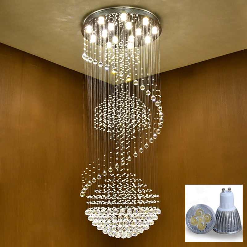 in light villa ceiling lights staircase from mounted lamp fitting spiral fixture long modern pendant for item flush stair crystal m