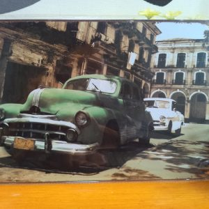 Vintage metal painting retro metal tin sign cm cm Old Building And Cars art poster font