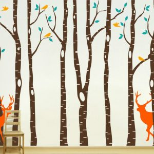 Vinyl Tree font b Wall b font Decalscm Reindeer Tree Forest Birds font b Wall