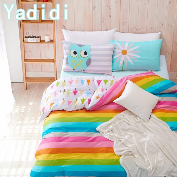 YADIDI  Cotton Rainbow Owl Bedding Set Cartoon Modern Flower Floral Twin Queen Size Stripe Bed
