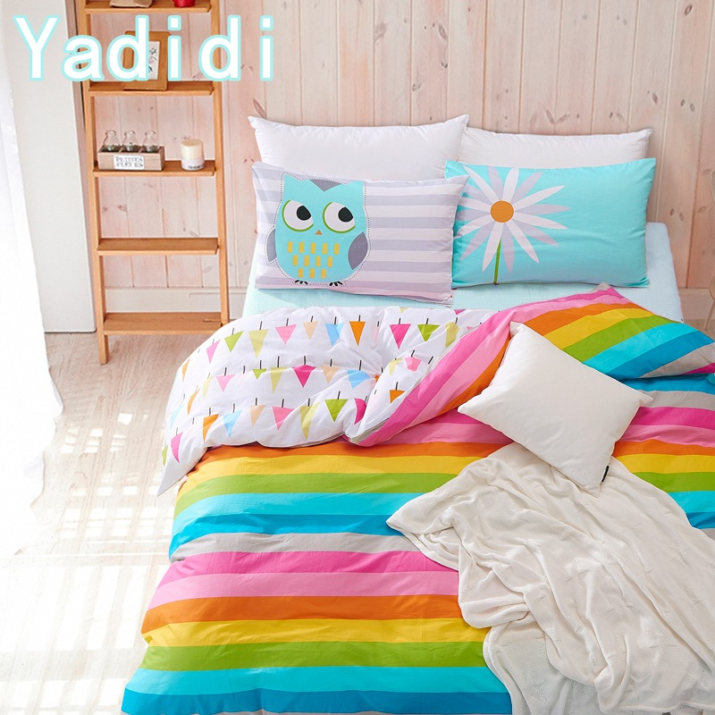 yadidi 100 cotton rainbow owl bedding set cartoon modern flower floral twin queen size stripe. Black Bedroom Furniture Sets. Home Design Ideas