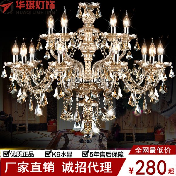 YL Large Crystal font b Chandelier b font  Arms Luxury Crystal Light Fashion font b