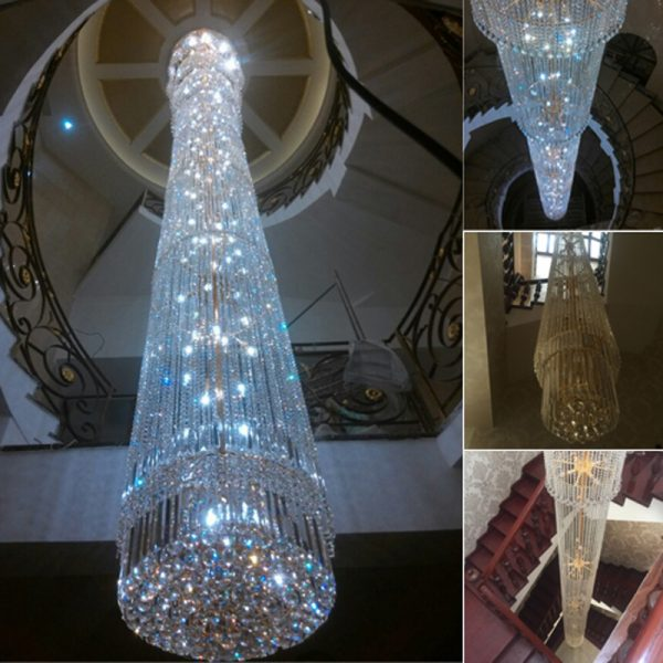 contemporary Crystal font b Chandelier b font spiral staircase lamp duplex villas long the Houselarge crystal
