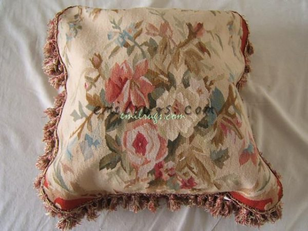flower floral rose pillow case seat sofa chair antique vintage wool handmade CMXCM