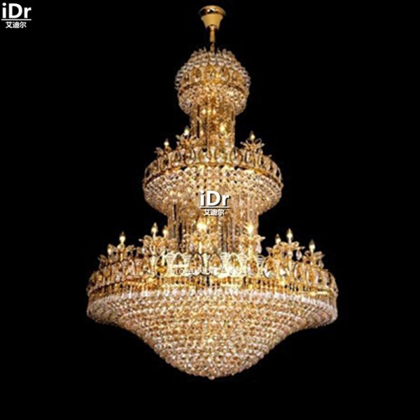 font b Chandeliers b font Polished gold crystal lamps  large hotel lobby lamp light