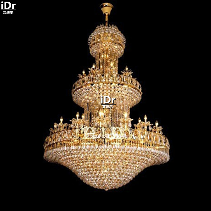 Chandeliers Polished Gold Crystal Lamps 114 Large Hotel