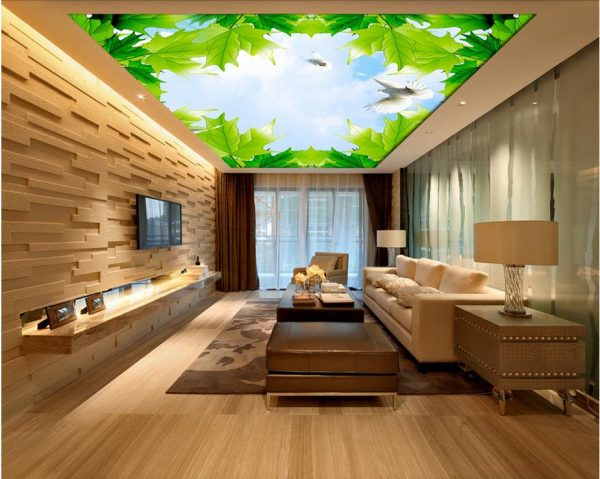 wallpaper d stereoscopic maple sky cloud ceiling d wallpaper