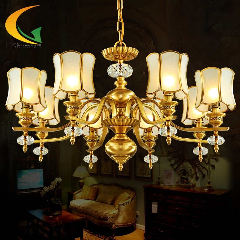 chandelier ceiling European chandeliers living room modern chandelier  lighting dinner room lamp copper chandelier lamp