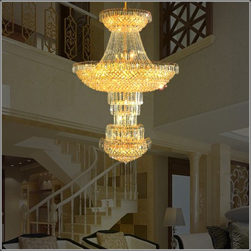 hotel lobby crystal chandelier modern high ceiling led lamp