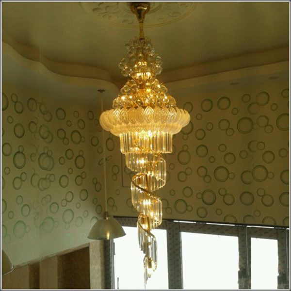 led Spiral Crystal Light new modern big crystal font b chandelier b font lighting for hall