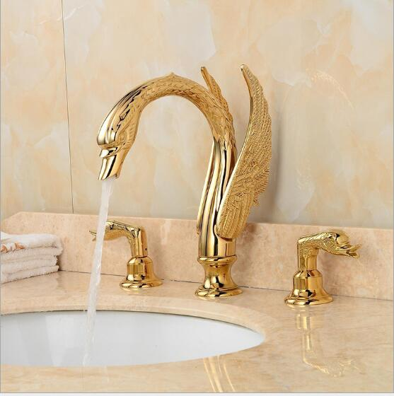 luxury brass material swan design double handle water font b faucet b font gold plating widespread