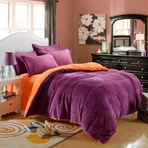 winner bedding set velour velvet warm bed set fleece flannel solid color High Quality pcs set
