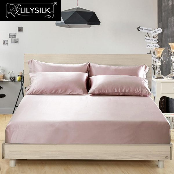 LILYSILK pcs Silk font b Bedding b font Set  Mulberry Seamless Silk Fitted Sheet Silk