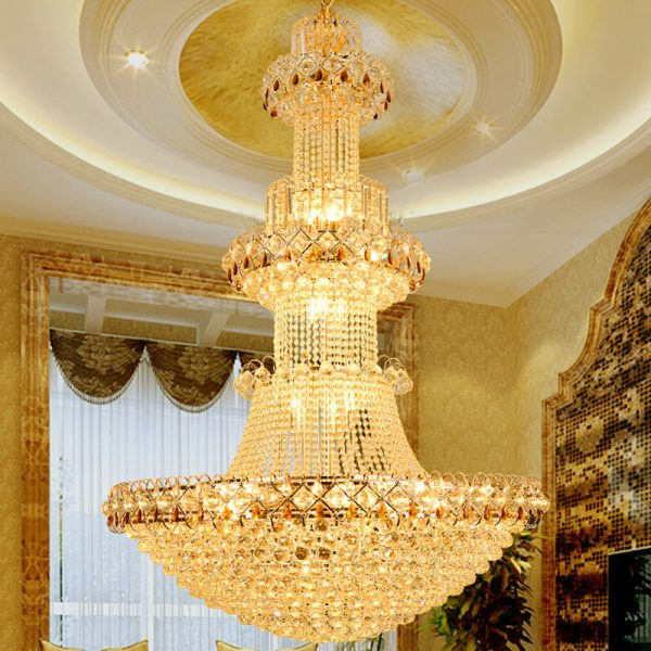 Modern Luxury Europe Large Gold Luster K LED Crystal font b Chandelier b font Light Fixture